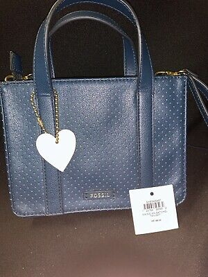AU26 • Buy Fossil Brand New Pu Leather Blue Small Tote Bag RRP $199 Unwanted Gift