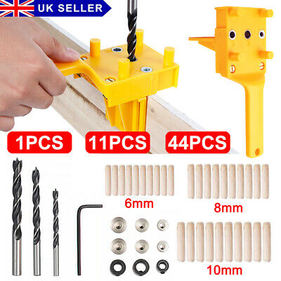 44Pcs Handheld Woodworking Guide Wood Drilling Dowel Hole Saw Doweling Jig Drill • 9.49£