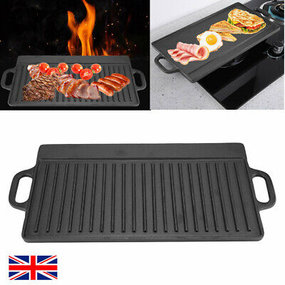 Kitchen Cast Iron Double Sided Griddle Flat & Ridged Grill Frying Pan Skillet UK • 22.18£