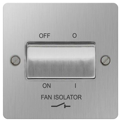 BG SBS15 Plate Switch Fan Isolator 10A - Stainless Brushed Steel • 7.99£