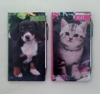 2021 Slim Diary With Pen Week To View Cat Kitten Puppy Dog Gift Stocking Filler • 3.79£