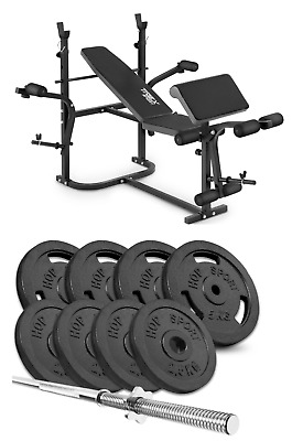 Home Exercise Bench With Prayer Book + SET 39 Kg Iron Weights Plates And Bar • 499£