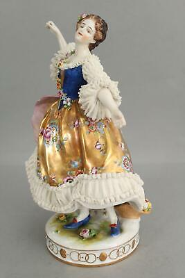 $ CDN2.64 • Buy 19thC Antique Signed German Porcelain Figurine Woman Dress Gold Gilt Statue, NR