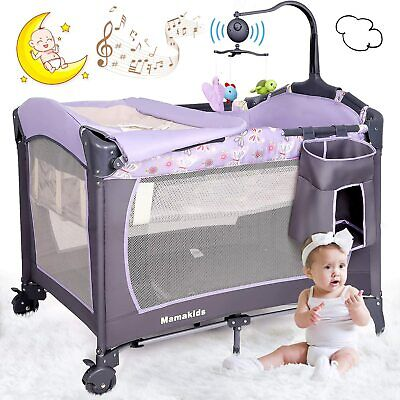 Portable Baby Travel Cot Crib Bassinet Bed Playpen Infants With Mattress & Music • 25£