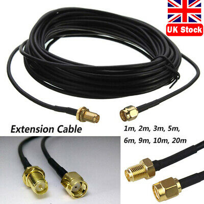 £3.26 • Buy RG174 RP-SMA Male To Female Connector Coaxial Pigtail Antenna Extension Cable UK