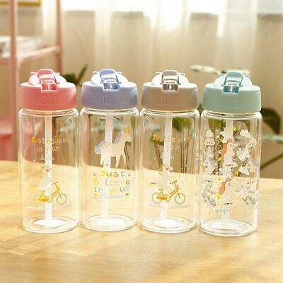 Unicorn Water Bottle Glass With Straw And Flip Lid Leak Proof Kids Travel Drinks • 10.56£
