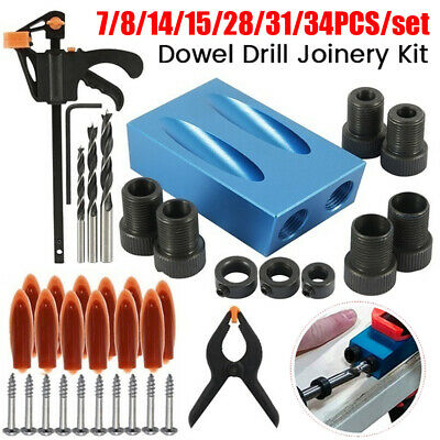 Pocket Hole Jig Kit 15° Woodworking Guide Oblique Drill Angle Hole Locator UK • 13.59£