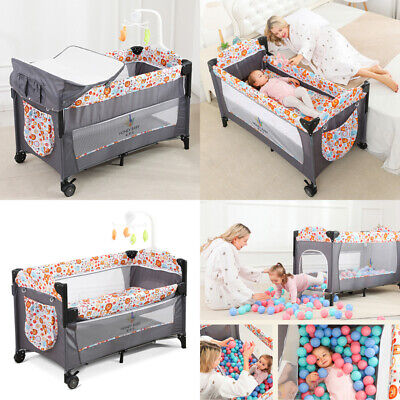 Side Sleeping Bedside Crib Baby Cot Bed With Washable Mattress & Wheels Playpen • 82.71£