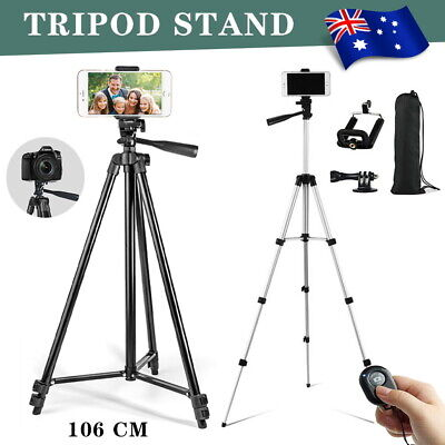 AU15.59 • Buy Professional Camera Tripod Stand Mount Remote + Portable Phone Holder For Travel