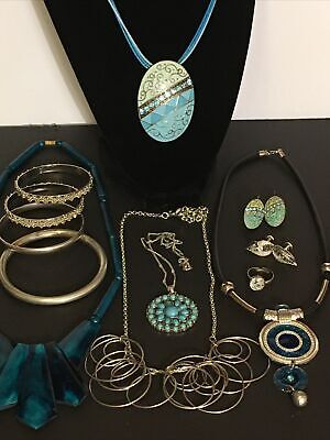 $ CDN32 • Buy Vintage To Modern Blue And Silver Tone Jewelry Lot , Monet Bangle, SNT Necklace