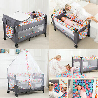 Bedside Crib Baby Portable Foldable Travel Cot Bed With Washable Mattress Wheels • 82.75£