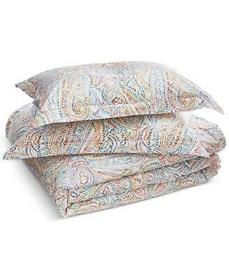 RALPH LAUREN CAYDEN Blue Gold Red PAISLEY Full QUEEN DUVET COVER Sham SET 3PC • 89.88£