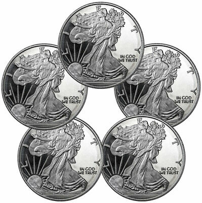 $ CDN184.52 • Buy Lot Of 5 Highland Mint Walking Liberty 1 Oz Silver Round Brilliant Uncirculated