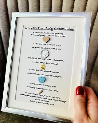 A5 Personalised Framed Print Gift Boy's First Holy Communion Confirmation Day • 9.99£