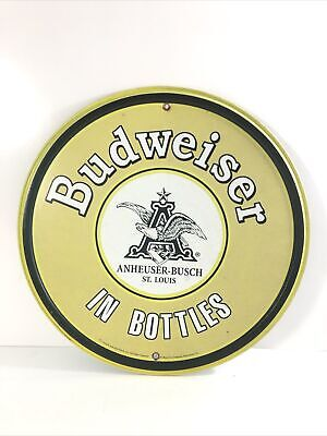 "$ CDN11.39 • Buy Budweiser Round Tin Metal Sign ""In Bottles""  12 X 12in. Faux Vintage Weathered."