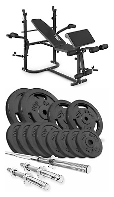Home Exercise Bench With Prayer Book + SET Of 59 Kg Iron Weights Plates And Bars • 620£