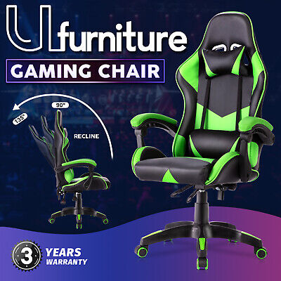 AU119.90 • Buy Gaming Chair Executive Office Computer Racer Recliner Chairs PU Seating Green