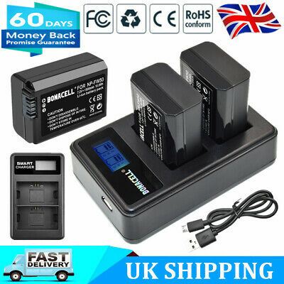 2x NP-FW50 Battery + LCD Dual Charger For Sony A6000 A6300 A6500 A7 7R A7R A7S • 16.99£