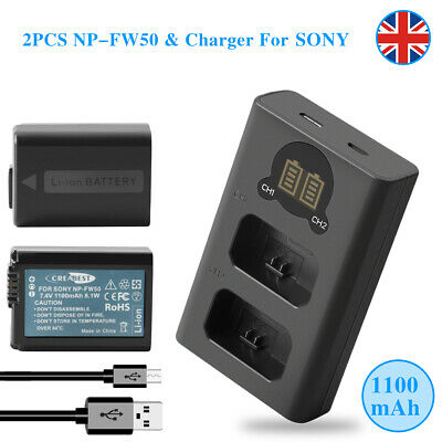 2×1100mAh NP-FW50 Battery & Charger For Sony NEX 3/5/7 Series Alpha A6100 A5000 • 19.90£