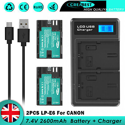 2x LP-E6 Battery & Dual Charger For Canon EOS 5D Mark II III IV 6D 7D 7D Mark II • 129.95£