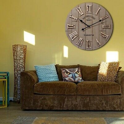 60cm Extra Large Round Wooden Wall Clock Vintage Retro Antique Outdoor Wall Deco • 38.99£