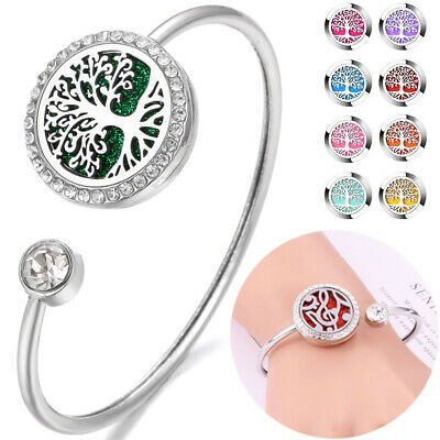 AU7.18 • Buy Aromatherapy Essential Oil Diffuser Bracelet  Stainless Steel Locket Open Bangle