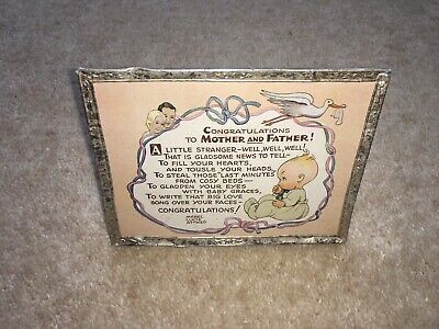 """$34.50 • Buy 1930s MABEL LUCIE ATTWELL """"BIJOU""""CONGRATULATIONS TO MOTHER&FATHER GREETINGS CARD"""