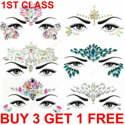 Face Gems Adhesive Glitter Jewel Tattoo Sticker Festival Rave Body Make Up Party • 1.49£