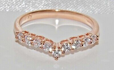 9ct Rose Gold 0.25ct Wishbone Eternity Ring Size R • 85£