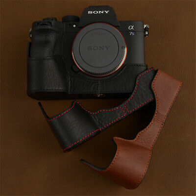 $ CDN88.90 • Buy Sony A7S3 A7SM3 Handmade Half Case Leather Camera Black Red Brown Retro Cover