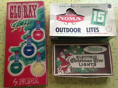 $ CDN9 • Buy Vintage CHRISTMAS LIGHTS BOXES Only - 2 Noma & 1 Amico - Classics Good Condition