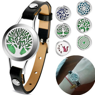 AU8.47 • Buy Essential Oil Diffuser Tree Of Life Leather Bracelet Aromatherapy Locket Jewelry