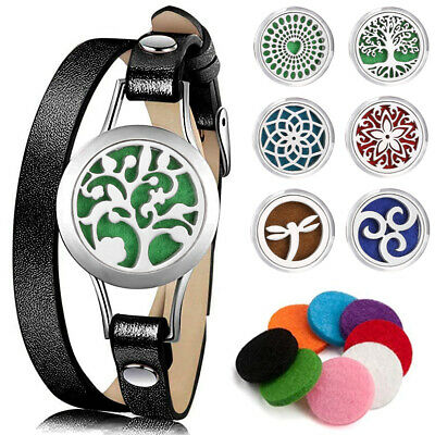 AU9.21 • Buy Essential Oil Diffuser Leather Band Bracelet Aromatherapy Locket Jewelry