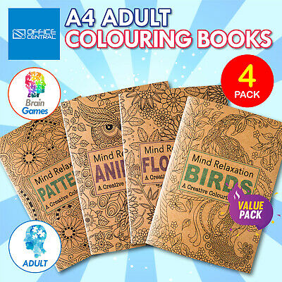 AU19.95 • Buy 4PK Adult Colouring Books A4 Size Birds Animals Patterns Flowers Mindfulness