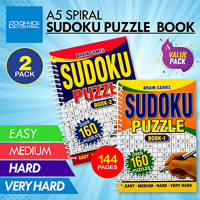 AU14.95 • Buy 2PK Sudoku Activity Books A5 Spiral Design Fun Numbers Stimulating 144 Pages