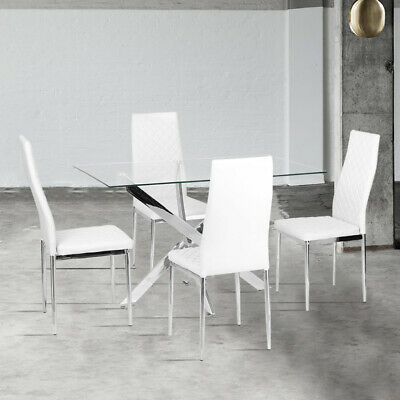 £99.95 • Buy Dining Rectangle Table And 2/4/6PVC Leather Chairs Kitchen Dinning Room White UK