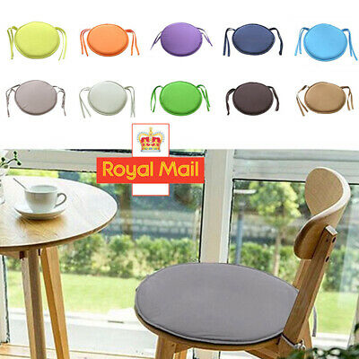 Round Dining Chair Pads Removable Tie On Seat Pads Outdoor Patio Stool Cushion • 3.79£