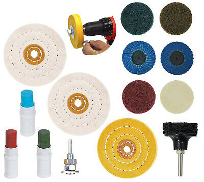 £17.35 • Buy Metal Cleaning Polishing Buffing Sanding Wheel Compound Kit For Drill 16 Pc Set