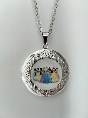 Disney Princess Girls Necklace Marble Locket With Gift Pouch Christmas Birthday • 4.99£