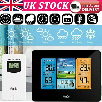 Touch Wireless Weather Station Thermometer Clock Sensor Forecast Digital Alarm • 25.89£