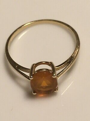 Gold 9 Ct Ring, Orange Fire Opal, Size R 1/2 • 69£