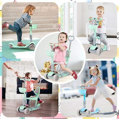 Kids Toddler 5 In 1 Child Kick Push Scooter W/ Basket Assembled Seat Baby Walker • 29.99£