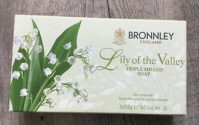 Bronnley Lily Of The Valley Triple Milled Soap - Boxed Set Of 3 - 100g Each • 13.99£