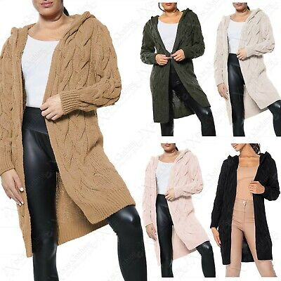 £17.99 • Buy New Ladies Hooded Cardigan Chunky Cable Knit Throw Over Look Womens Cardi Jacket
