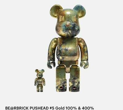 $400 • Buy Medicom BE@RBRICK Pushead #5 Gold 100% 400% Bearbrick Figure Set In Hand