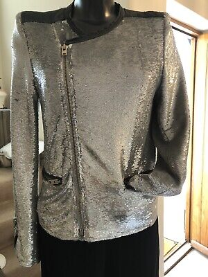 $ CDN112.03 • Buy Stunning Designer IRO Silver Sequin & Leather Fitted Jacket Size US2 Uk8
