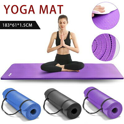 AU21.08 • Buy 15MM Yoga Mat Non-Slip Workout Pads Multi Purpose Exercise Fitness Gym Mat