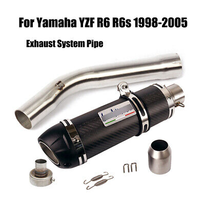 $112 • Buy Carbon Fiber Exhaust Pipe Silencer Link Section For Yamaha YZF R6 R6s 1998-2005