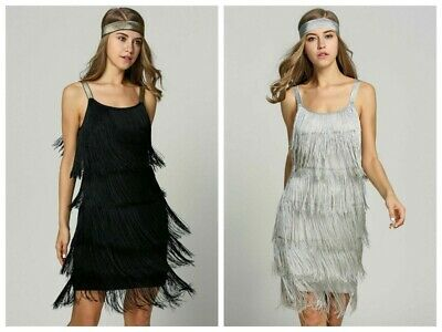 1920s Sequins Dress Vintage Flapper Great Gatsby Fringed Cocktail Party Dresses • 8.99£