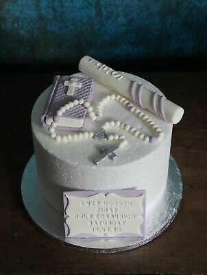1st Holy Communion Lilac Edible Bible Rosary Candle Plaque Cake Topper  • 27.99£
